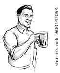 man with beer mug   Shutterstock . vector #600142094