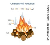 combustion reaction   wood... | Shutterstock .eps vector #600143237