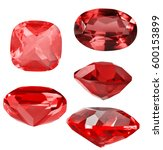 set of red ruby gems isolated... | Shutterstock . vector #600153899