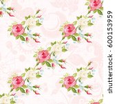 seamless floral pattern with... | Shutterstock .eps vector #600153959