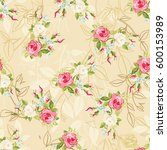 seamless floral pattern with... | Shutterstock .eps vector #600153989