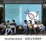 group of students dna strand... | Shutterstock . vector #600154889