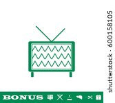 tv icon flat. simple green...