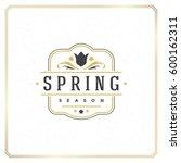 spring badge vector typographic ... | Shutterstock .eps vector #600162311