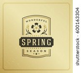spring badge vector typographic ... | Shutterstock .eps vector #600163304