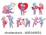 vector set of six cartoon... | Shutterstock .eps vector #600164051
