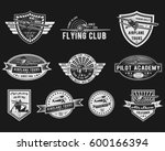 vector set of vintage aviation... | Shutterstock .eps vector #600166394