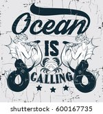 ocean is calling. quote... | Shutterstock .eps vector #600167735