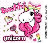 beautiful unicorn girl with...
