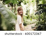 smiling beauty in garden... | Shutterstock . vector #600172367