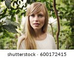 stunning blue eyed blond woman... | Shutterstock . vector #600172415