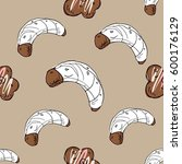 hand drawn cookie  croissant. ...   Shutterstock .eps vector #600176129