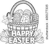 happy easter. black and white... | Shutterstock .eps vector #600177335