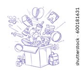 doodle shopping box with lot of ... | Shutterstock .eps vector #600181631