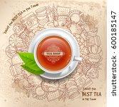 round design for tea shop in... | Shutterstock .eps vector #600185147