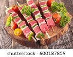 raw beef skewer | Shutterstock . vector #600187859