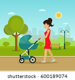 young mother walking in the... | Shutterstock .eps vector #600189074