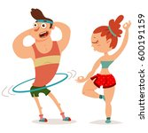 fitness couple man and woman... | Shutterstock .eps vector #600191159
