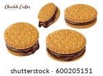 four chocolate sandwich cookies ... | Shutterstock .eps vector #600205151