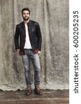 leather jacket dude posing for... | Shutterstock . vector #600205235