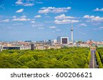 Stock photo aerial view of berlin skyline panorama with grosser tiergarten public park on a sunny day with blue 600206621
