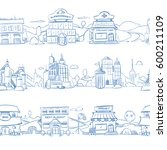 city retail buildings  store ... | Shutterstock .eps vector #600211109