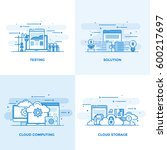 modern flat color line designed ... | Shutterstock .eps vector #600217697