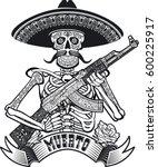 mexican skull holding assault... | Shutterstock .eps vector #600225917