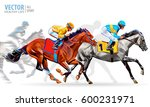 four racing horses competing... | Shutterstock .eps vector #600231971