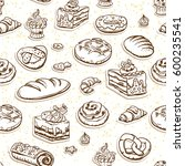 bread and pastry sketch... | Shutterstock .eps vector #600235541