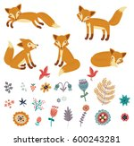 foxes set. vector collection | Shutterstock .eps vector #600243281