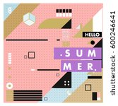 trendy vector summer cards... | Shutterstock .eps vector #600246641