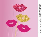 photo booth props lips vector... | Shutterstock .eps vector #600253505
