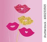 photo booth props lips vector... | Shutterstock .eps vector #600253505