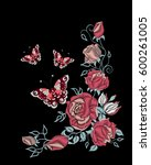 embroidery roses and butterfly  ... | Shutterstock .eps vector #600261005