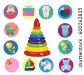 baby icons  toys  pacifier ... | Shutterstock .eps vector #600262835