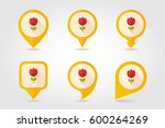 flower flat vector pin map icon.... | Shutterstock .eps vector #600264269
