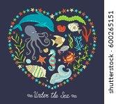 vector colorful wild sea life... | Shutterstock .eps vector #600265151