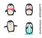 set of cute penguin isolated.... | Shutterstock .eps vector #600268379