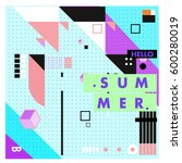 trendy vector summer cards... | Shutterstock .eps vector #600280019
