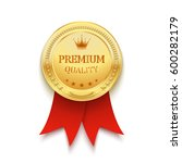 premium quality golden label... | Shutterstock .eps vector #600282179