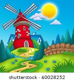 country landscape with red mill ... | Shutterstock . vector #60028252