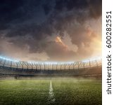 soccer stadium with grass | Shutterstock . vector #600282551