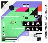 trendy vector summer cards... | Shutterstock .eps vector #600282815