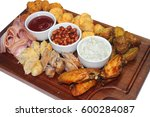 tasty food foto menu meat plate   Shutterstock . vector #600284087