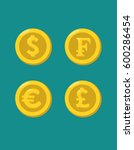 icons of gold coins with images ... | Shutterstock .eps vector #600286454