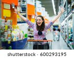 shopaholic woman enjoying... | Shutterstock . vector #600293195