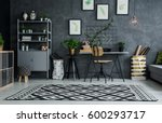 multifunctional flat with cyan... | Shutterstock . vector #600293717