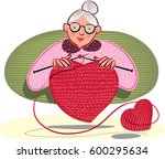 grandmother who knits  a heart... | Shutterstock .eps vector #600295634