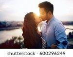 romantic couple in love... | Shutterstock . vector #600296249